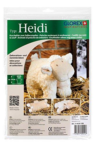 Glorex GmbH 0 4620 100 - Kuscheltier zum Selberstopfen Schaf Heidi, ca. 19 cm