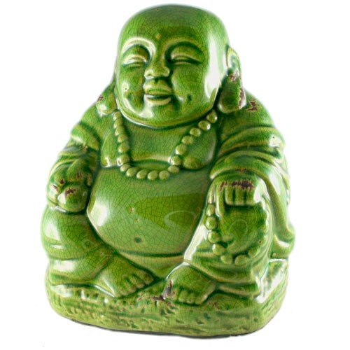 World Buyers Happy Buddha Ceramic with Crackle Finish Statue Figurine/Idol Feng Shui 7.5' H (Green)