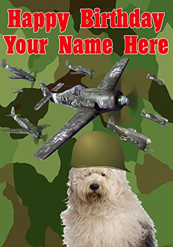 Oud Engels Schapenhond Hond j255 Militair Leger Vliegtuigen Leuke Leuke Gelukkige Verjaardag A5 Gepersonaliseerde Wenskaart gepost door ons geschenken voor alle 2016 van DERBYSHIRE UK