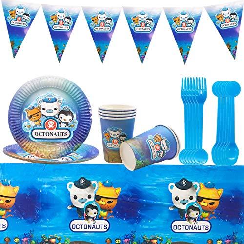 The Octonauts Party Supplies Vajilla para fiestas Diseño Incluye Pancartas, Platos,Tazas, Servilletas,...