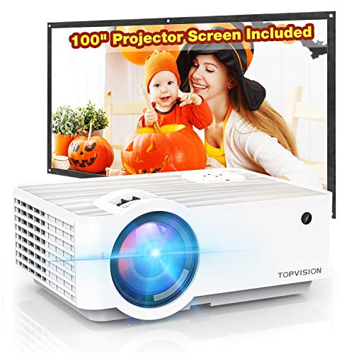"Video Projector, TOPVISION 5500L Portable Mini Projector with 100"" Projector Screen, 1080P Supported, Built in HI-FI Speakers, Compatible with Fire Stick, HDMI, VGA, USB, TF, AV, PS4"