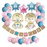 JSJJATF Globos Género Revele Party Pack Decoraciones de Ducha de Baby Decoraciones Chico o niña Banner y Globos Papel Paper Ball Anuncio de Embarazo (Color : Set 2)