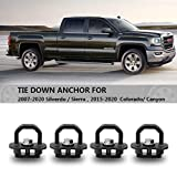 ROCCS 4X Tie Down Anchor Truck Bed Side Wall Anchors for 07-20 Chevy Silverdo/Sierra,15-20 Chevy Colorado/Canyon,Trucks Cargo