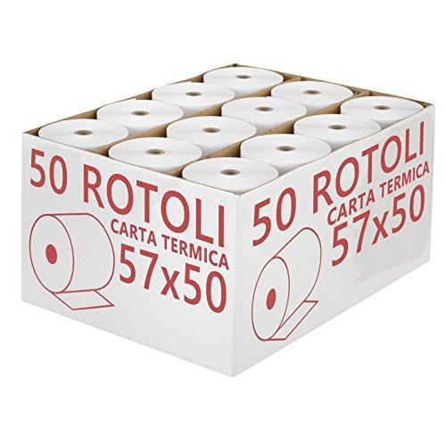 Confezione 50 Rotoli Termici mm 57x50 mt Omologati per Registratore di Cassa Carta Termica 1^ Qualità