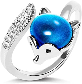 Mood Stone Ring Color Changing - Cute Fox Design Adjustable Brass Vintage Ring - Jewelry Gifts for Girls Women
