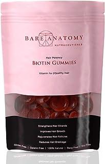 Bare Anatomy - Veg. Biotin Gummies - Hair Nutrition- Vitamin A,C,E,& H Rich - with AloeVera extract- 60 gummies- Unisex