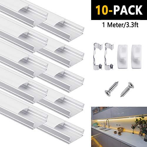 Profilo Led In Alluminio, DazSpirit 10Pack da 1M/3,3ft Canalina Striscia Led Con Coperchio Diffusore Bianco Latte Profilo Alluminio per Strisce LED (U-Figura per/ 10 PCS)