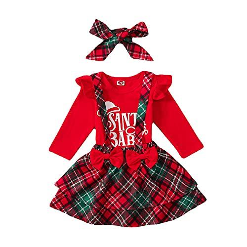 Verve Jelly Trajes de Navidad para niñas bebés con volantes de manga...