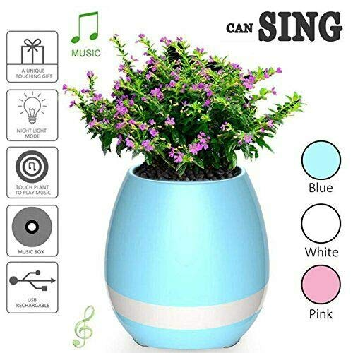 Music Flowerpot Touch Plant Piano Music Playing Flowerpot Smart Multi-Color LED Light Round Plant Pots Bluetooth Wireless Speaker (whitout Plants) Pink