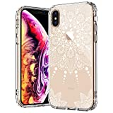 MOSNOVO iPhone Xs Max Case, Clear iPhone Xs Max Case, White Henna Mandala Lace Floral Pattern Clear Design Transparent Plastic Hard Case with TPU Bumper Case Cover for iPhone Xs Max
