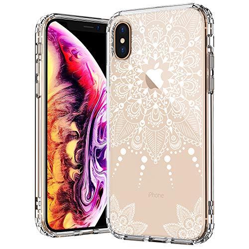 MOSNOVO iPhone XS Hülle/iPhone X Hülle, Henna Mandala Lace Spitze Weiß Muster TPU Bumper mit Hart Plastik Hülle Durchsichtig Schutzhülle Transparent für iPhone X/iPhone XS (White Henna)