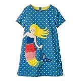 Mädchen Baumwolle Kurze Ärmel Kleid Lässiger süßer Drucken T-Shirt Kleid 1-7 Jahre (6-7 Jahre,...