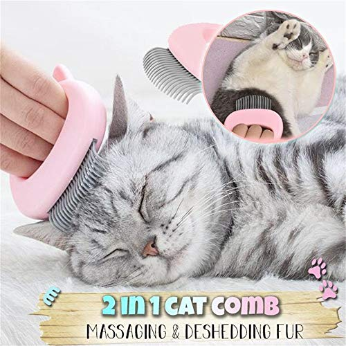 Balock Katzen Massage kamm,Haustier Haarentfernung Massage Shell Comb,Haustier Katze Hunde Massage Shell Kamm,Grooming Hair Removal Shedding Reinigungsbürste Kamm für Hunde&Katzen (Pink)