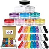 Beauticom 200 Pieces 3g/3ml Empty Clear Container Jars with MultiColor Lids for Powder Makeup, Cream, Lotion, Lip Balm/Gloss, Cosmetic Samples