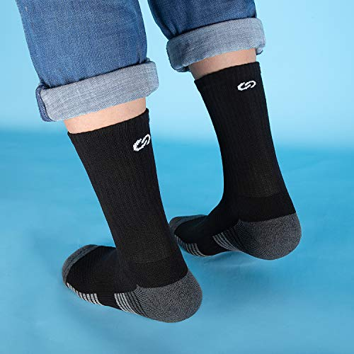 Anqier Cushioned Work Socks, Odor-free Thermal Socks Sports Socks School Socks Boots Socks Trainer Socks for Men Women Running Hiking Walking Athletic Breathable Casual Cotton Crew Socks Ladies