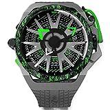 Mazzucato Rim Monza Formula 1, reloj reversible automático y cronógrafo con correa de goma FKM gris con verde, caja de fibra de carbono, F1-GY361