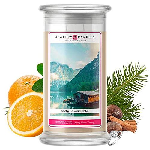 Jewelry Candles | Jewelry Valued at $15 - $7,500 | Large Long-Lasting 21oz Jar All Natural Soy Candle | Hand Poured Made in The USA Family Owned (Ring (Size 8)) (Smoky Mountains Cabin)