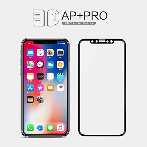 Nillkin 3D AP+ Pro - Screen Protector 0.23mm Flexibler 9H Hartglas-Schutzfolie mit Rand bruchsicher 2.5D Kompatibel mit Apple iPhone X - Schwarz