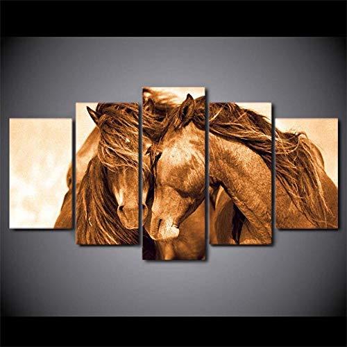 Fifase Lienzo Arte Impresiones Cartel De Pared Cuadro Modular 5 Panel Cuadros Pintura Arte De La Pared Cartel Modular 5 Panel Caballo Rojo Animal Moderno Lienzo Sala De Estar HD Decoración par