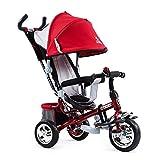 4 en 1 triciclo infantil bicicleta carrito de bebé multifunción niño y niña cochecito de bebé juguete carrito de seguridad cerca de cumpleaños para niños (color: rojo)