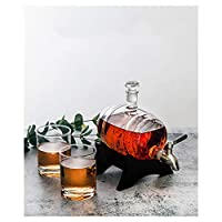 1Lウイスキーデカンターセット、ワイン樽型ガラスワインボトルセーリングワインボトルセットセーリング/ボートギフト男性と女性、航海の装飾退職ギフト