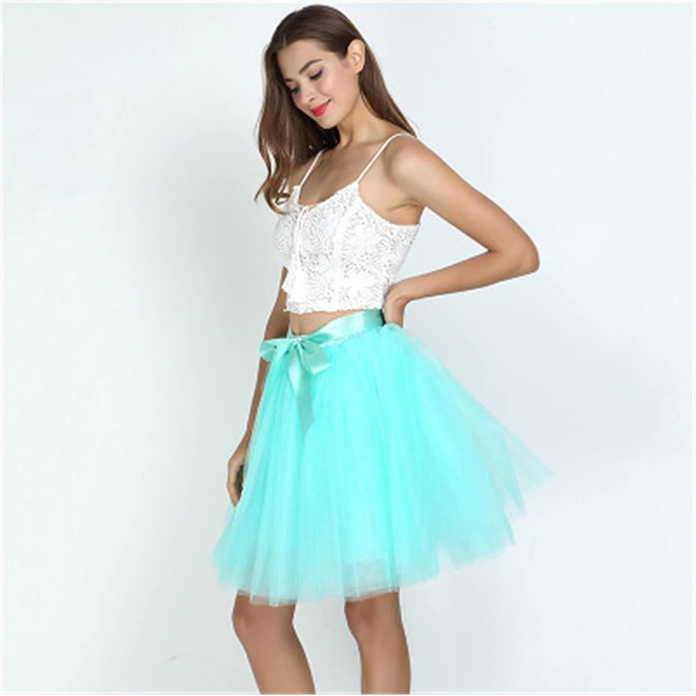 LSXLSD 7Layered 50cm Tutu Tulle Skirts Womens High Waist Swing Dolly Ball Gown Underskirt Mesh Summer Midi Skirt (Color : Mint Green, Size : One Size)