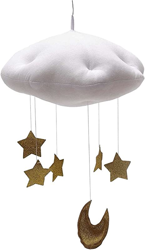 BESTOYARD Baby Nursery Ceiling Mobile Crib Mobile Clouds Moon Stars Ceiling Hanging Decorations Kids Room Baby Shower Decoration White Clouds And Golden Stars