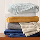 100% Cotton Waffle Weave Thermal Blanket. Super Soft Season Layering. Mikala Collection (Twin, French Blue)