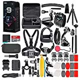 GoPro HERO9 Black - Waterproof Action Camera with Front LCD and Touch Rear Screens, 5K HD Video, 20MP Photos, 1080p Live Streaming, Stabilization + 64GB Card and 50 Piece Accessory Kit - Loaded Bundle