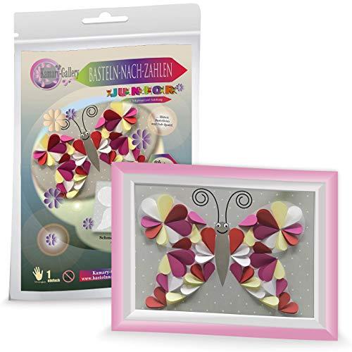 Papierbastelset Schmetterling für Kinder ab 4 Jahre, Basteln nach Zahlen, 3D basteln mit Papier, Kindergeburtstag Gastgeschenk, Geschenk für Mädchen