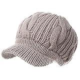 Siggi, cappello per donna di maglia spessa, cappellino con visiera in lana merino al 100% 10120_Beige Etichettalia unica