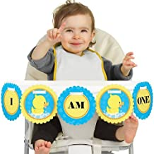 Big Dot of Happiness Ducky Duck 1rst Birthday Highchair Decor - I Am One - First Birthday High Chair Banner