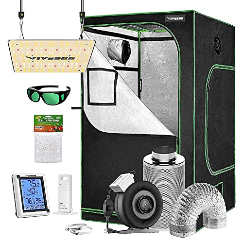 """VIVOSUN Grow Tent Complete Kit, 48"""" x 48"""" x 80"""" Growing Tent & VS1000 Led Grow Light & 6 Inch 440 CFM Inline Fan Carbon Filter and 8ft Ducting Combo"""