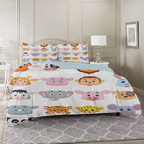 YUAZHOQI Cartoon Duvet Cover 3 Piece Set King, Kids Themed Baby Cute Animals Lions Pigs Cows Farm Safari Baby Nursery Room Comforter Cover with Zipper Closure and 2 Pillow Shams