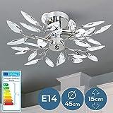 Plafonnier - 3 Ampoules de Max. 40 W, E14, Classe Énergétique de A++ à E, Design : Feuilles Acryliques, Transparent ou Lilas - Lustre, Lampe de Plafond, Luminaire pour Salon, Chambre (Transparent)
