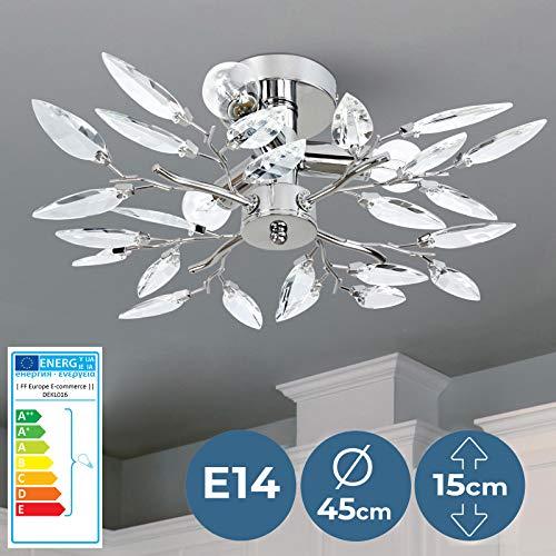 Deckenleuchte in Blatt-Optik - EEK: A++ bis E, LED, Ø45cm, für E14, 3-flammige, Transparent | Deckenlampe, Schlafzimmerleuchte, Kristallbehang - für Wohnzimmer, Esszimmer, Schlafzimmer, Küche