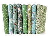 Egurs 8 pz Verde 100% Cotone Tessuto No Ripetizione Design Quilting Tessuti Patchwork per Cucire Tilda Bambola Tessuto di Stoffa 25 * 25