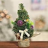 LXY Mini árbol de Navidad con copos de nieve artificiales, decoración de escritorio, mini cedro, decoraciones de mesa para el hogar, lentejuelas rojas, lentejuelas doradas (color: lino-morado)