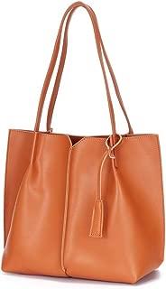 Wo Single Shoulder Portable Large Capacity Ladies Leather Handbag Handbag Female Bag Handbags (Color : Brown)