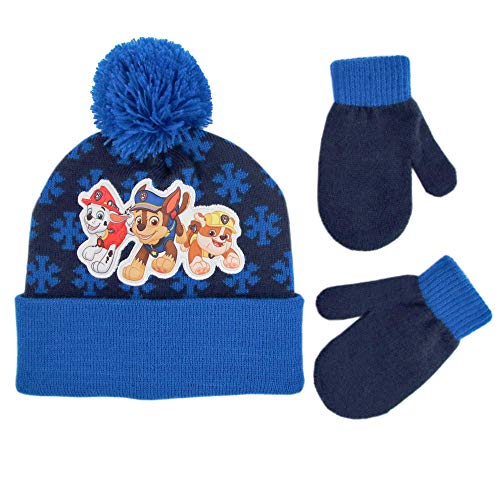 Nickelodeon Boys' Toddler Paw Patrol Beanie Hat and Mittens Cold Weather Set, blue, Age 2-4