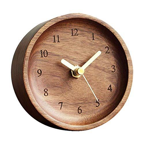 Reloj De Sobremesa, Madera Redonda, Números Árabes, Esfera, Reloj De Escritorio, Silencioso, Escritorio Simple, Alimentado por Batería, Regalo De Decoración, Relojes De Mesa para El Hogar (Color: Ma
