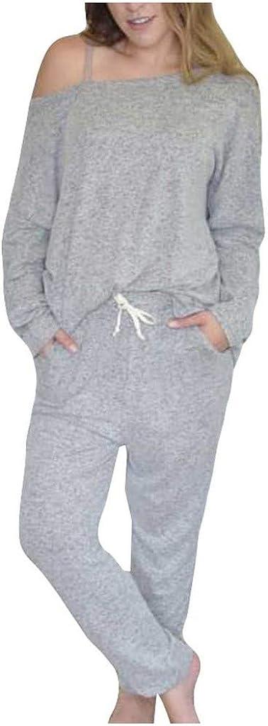 Lounge Sets for Women,Womens Long Sleeve Pajamas Set Soft Top and Pants Pockets PJ Set Nightwear Sleepwear