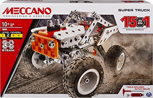 MECCANO - SUPER TRUCK 15 MODÈLES - Véhicule Avec Direction et Suspensions Fonctionnelles - Jeu de Construction - 6052632 - Jouet Enfant 10 Ans et +