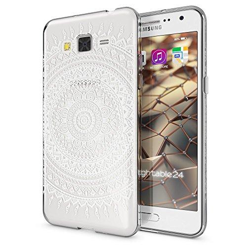 NALIA Funda Carcasa Compatible con Samsung Galaxy Grand Prime, Motivo Design Movil Protectora Fina Carcasa Silicona Cubierta, Goma Estuche Telefono Bumper Cover Case, Designs:Mandala Blanco