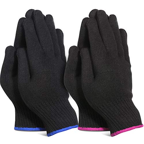 Teenitor 4 Pack Heat Resistant Gloves For Hair Culring Iron, Professional Heat Proof Gloves For Hair Styling Hot Flat Iron Wands Straighteners, One Size Fits All