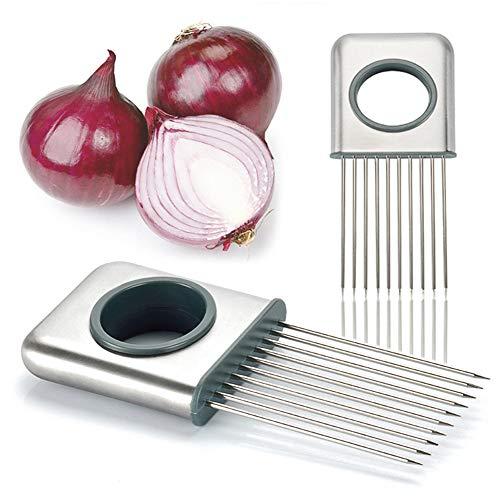 DUBENS - Soporte para cortar cebolla, acero inoxidable, para cortar cómodamente cebolla, tomates, limón, carne, cebolla, cortador de herramientas