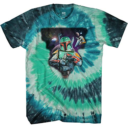 STAR WARS Boba Fett Space Adult Tee Graphic T-Shirt for Men Tshirt (Black and Green Tie, Large)