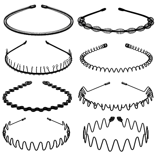 8Pcs Metal Hair Band for Men Women Headband Thin Black Wavy Hair Head Band suit for Long Curly Hair for Home,Outdoor,Sport and Yoga