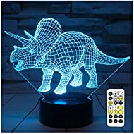 Night Lights for Kids Dinosaur 3D Night Light Bedside Lamp 7 Colors Changing with Remote Control Best Birthday Gifts for Boys Girls Kids Baby (Dinosaur Triceratops)