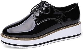 426222b774d Zapatillas Oxford De Estilo BritáNico para Mujer Pisos con Punta Estrecha  con Cordones Pliegues De Charol